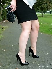 Saucy Nicola loves to show off her high heels outdoors