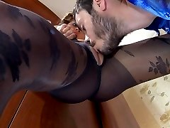 Dolled-up babe changes into black rose pattern pantyhose for a bedroom fuck