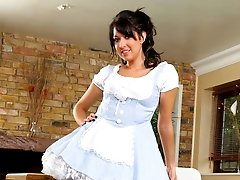 Dark haired stunner hides sheer red panties beneath her cute fancy dress outfit.