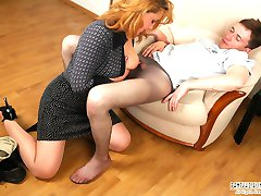 Filthy gal putting horny guy to sleep to play dirty and frantic nylon games