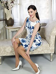 Becky in 60s style outfit with vintage textured RHT nylons, white calf leather pumps and an...