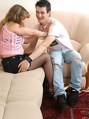 Leggy mature gal in barely black tights stripping naked in front of hot guy