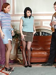 Vivacious babes in black pantyhose giving great legjob and blowjob in 3some