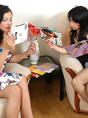 Sweet brunettes putting on a new pairs of tights launching into lesbian sex
