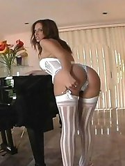 White lingerie on a hot babe