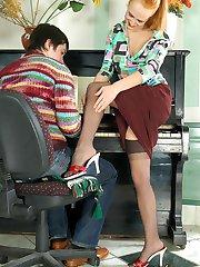 Vivacious gal in sheer stockings seducing pianist into sizzling hot fucking
