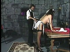 Pretty maid stripped naked and bent over the table - severe bare bottom punishment