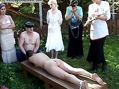 Stunning blonde stripped naked tied down and flogged in public - tears of humiliation
