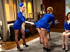 Three ladies compete to earn their stewardess hats to fly the friendly skies but one sadistic evil lesbian stewardess has unconventional ways of training the girls to prepare them for ANYTHING that could happen at 30,000 feet! Welcome back Kristina Rose, Mallory Mallone and Missy Minks to Whipped Ass as they are spanked, paddled, nipple clamped, strap-on ass fucked, made to lick pussy, dildo gag, humiliated and punished by the sexiest flight attendant anyone\'s ever seen!