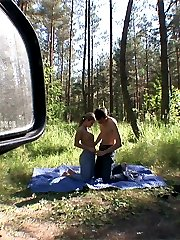 Teen couple caught fucking in woods