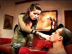 Latex girl fucks two hot guys