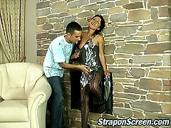 Steaming hot chick grabbing strap-on to drill guys asshole deep and hard