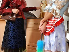 Sissy maid dropping on his knees for breathtaking strap-on entertainment