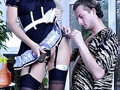 Sexy French maid gets asked for extra strapon services by her freaky master