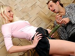 Romantic evening with wine ends up with fucking bout for strap-on armed gal
