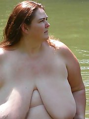 Older BBW with big tits nude in the lake