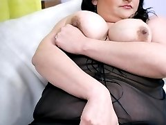 Very horny BBW model Claudia working a thick wang with her lips and tight fat covered muff