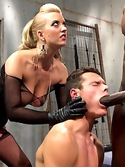 Cherry Torn always has young little play things on the side. Mickey is her new toy and totally worships her. Cherry called me up and asked if I would mind setting up a little cuckolding surprise for her naive slave. Mickey was caught totally of guard and Cherry had to bring in a little punishment to get him to submit. Once we got him in chastity and I brought in beautiful bull, Jason Brown, Mickey had nothing to do but make his mistress happy and suck that big black cock getting it all nice and huge and hard for Cherry\'s lily white perfect pussy! Jason\'s big load drips off Cherry\'s beautiful pussy lips and she sits right on top of Mickey\'s face hand feeding him the only thing he\'s eating for dinner.