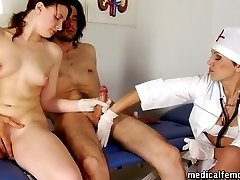 Face-sitting and HJ at the male genital examination