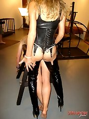 Jane and guest femdom punish a Tgirl and gimp