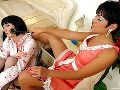 Freaky sissy tidies up a room before thrusting his ass on a babes strap-on