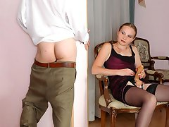 Horny guy giving his nyloned girlfriend a strap-on begging for wild frenzy