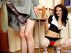 Stockinged chick putting to work huge sex toy while screwing well-hung guy