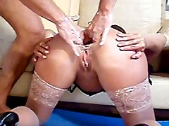 Shameless housewife whore mercilessly double anal fist fucked
