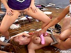 Extreme lesbian anal fisted gang bang slut