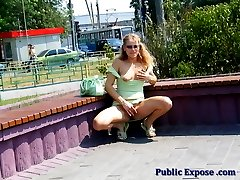 Hot blondie pussy toying in public place