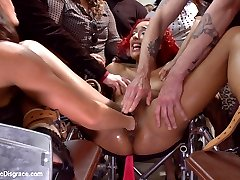 Will has been in a coma, imagine his surprise to wake up surrounded by friends who have brought him a very special gift. Daisy Ducati looks extra whorish and tempting restrained in a wheel chair with her legs spread wide. They examine the inside of her pussy with a speculum, torment her clit with suction devices, stuff her cunt with toys, fists and cocks- and of course give her an extreme ass a pounding. The crowd goes wild as this filthy scene gets rough.