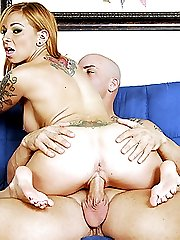 Tattooed foot freak massages his manhood with her feet
