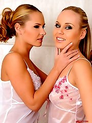Blonde lesbians in bathroom