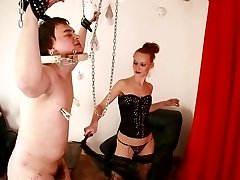 Cuffed and leashed slave gets his nipples pegged before taking a hardcore whipping from his...