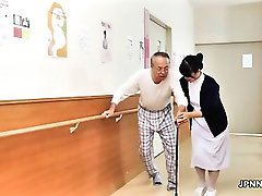 Cute asian nurse gets her tits rubbed part1