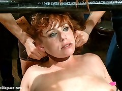 Big tittied ginger fucked in the ass in front of a horny crowd!