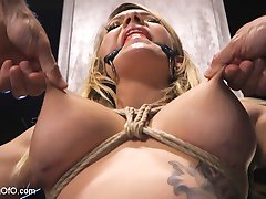 Cali Carter is a big tit, big ass beauty that knows how to bounce it. But first I want  to see those tits tied and clamped. After a couple of screaming orgasms, Cali shows off and tells us she loves it down the throat - so, we put it to the test with our two foot long dong! Pete finishes of the Oral part of our lessen with a gratuitous and sloppy blow job.Cali Spends the rest of her day bouncing that ass on hard dick, tied up, gagged, clamped, slapped and spanked so get yer dicks out and give this beauty the one fist salute!