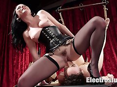 Lilith Luxe is bound and suspended in Veruca James lesbian dungeon. Lilith eagerly submits to...