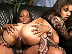 Kinky black lesbians playing with a huge strap-on!