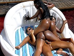 4 hot movies of mega hot bubble but brown bikini babes share a hard wet cock by the pool in...