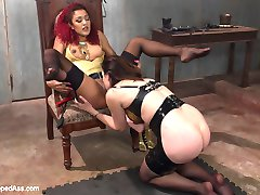 Sovereign Syre messaged me letting me know she had to have Daisy Ducati's wicked little hands all over her. There is nothing sexier than real genuine attraction and chemistry! Daisy debuts her domming skills at Whipped Ass in this erotic lesbian BDSM dungeon fantasy with punishment, foot fetish and strap-on ass fucking!Enjoy,Maitresse Madeline Marlowe