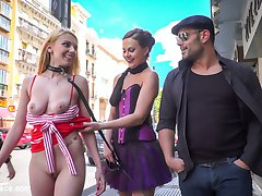 Daniela Dadivoso is a gorgeous slut with a hungry asshole for huge cocks and hard pounding double penetration! This busty slut gets it all on display for the full public to experience. First up this rope bondage slut gets tied up and fucked in the ass outdoors! Then paraded around town for anyone to pose for a photoshoot with this nude slut. Finally at a crowded bar, this whore gets on her hands and knees and crawls around to the filthy floor to service and suck cocks before getting double penetration in all her tight slut holes. She gets fucked and covered in cum!