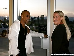 Blonde secretary tosses her uniform for a hard black dick fucking