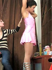 Sultry lesbian babes getting to hot strap-on action with their pantyhose on