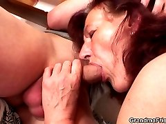 The mature threesome ends with the two guys cumming on her pretty mature face lustily