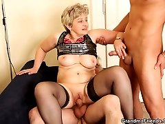 Granny is enjoying a young mans cock and an old mans cock inside her tight body