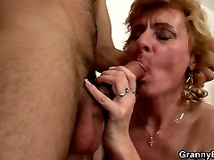 After fucking the hell out of her pulsating hole, he releases a major load of jizz.