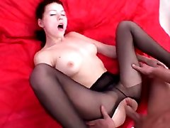 Sweet cock-rider gets her black pantyhose creamed