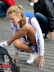 Upskirt babes rubbing goodies on cam
