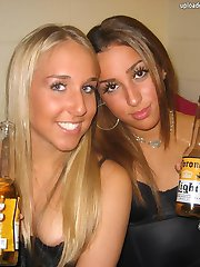 They laugh and sexily tease with downblouse view